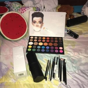 James Charles make up palette and brushes